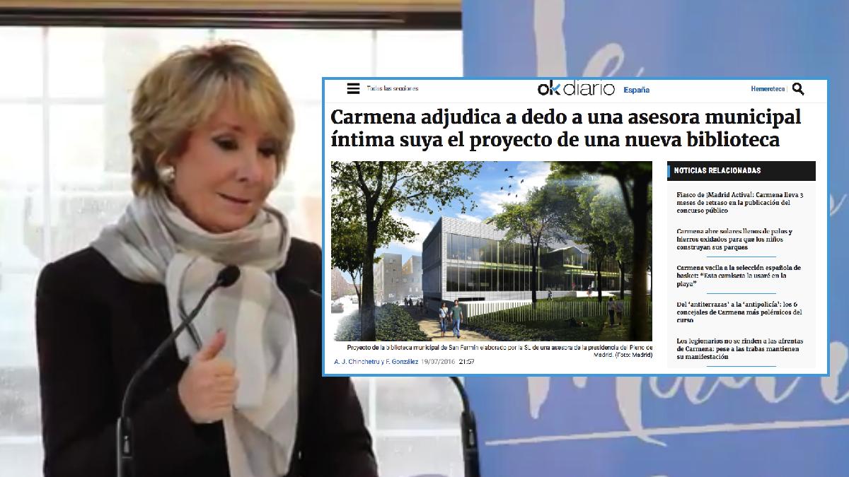 Esperanza Aguirre y la exclusiva de OKDIARIO. (Foto: TW)
