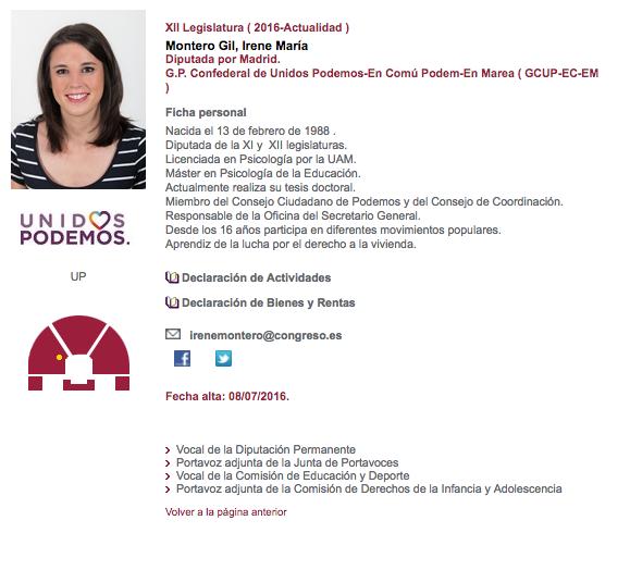 Los sueldazos de la cúpula de Podemos: Gloria Elizo gana 8.611€ e Irene Montero 6.469€