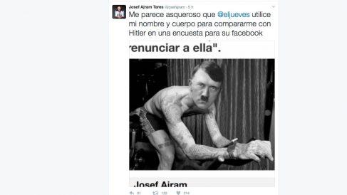 Imagen del tuit con el que Josef Ajram ha denunciado el uso de su imagen para compararle con Hitler