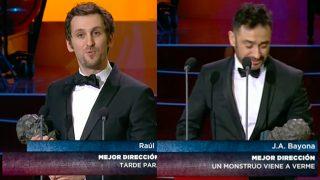 Raúl Arévalo y J. A. Bayona, los triunfadores de la noche de los Goya 2017.