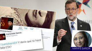 El mensaje publicado en Twitter por la portavoz de IU en Morata de Tajuña, Marifé García.