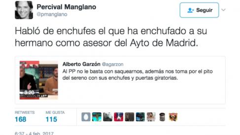Zasca del concejal del PP Percival Manglano a Alberto Garzón en Twitter.