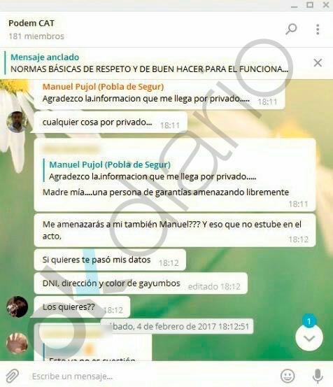 Podemos Cataluña pide por Telegram a sus chivatos que delaten a los que pitaron a su nº1 en un acto