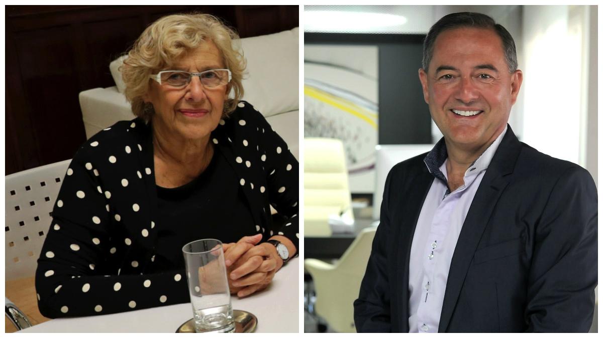 La alcaldesa Manuela Carmena y el empresario murciano Trinitario Casanova. (Fotos: Madrid / Fundación TC)