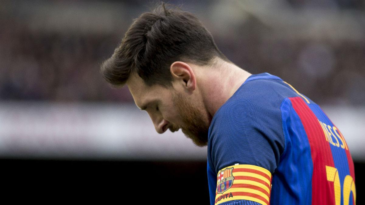 Leo Messi, en un partido con el Barcelona. (Getty)