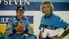 Michael Schumacher y Flavio Briatore, durante su estancia juntos en Benetton. (Getty)