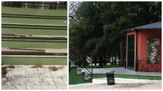 Gradas en obras del Teatro de Títeres de El Retiro. (Foto: TW)