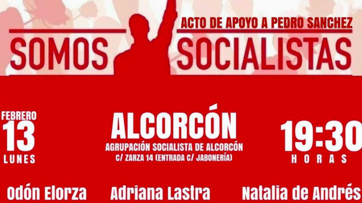 Cartel del acto de Pedro Sánchez en Alcorcón. (Foto: Facebook)
