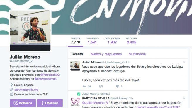 Un concejal podemita de Sevilla la lía en Twitter: «Vaya asco dan los jugadores del Betis apoyando al neonazi Zozulya»