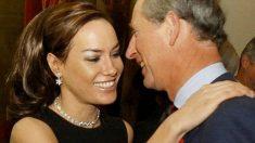 Tara Palmer-Tomkinson y su padrino, el príncipe Carlos de Inglaterra. Foto: AFP