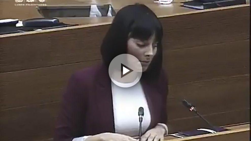 La diputada de Podemos en el Parlamento valenciano, Sandra Mínguez (Foto: Twitter)