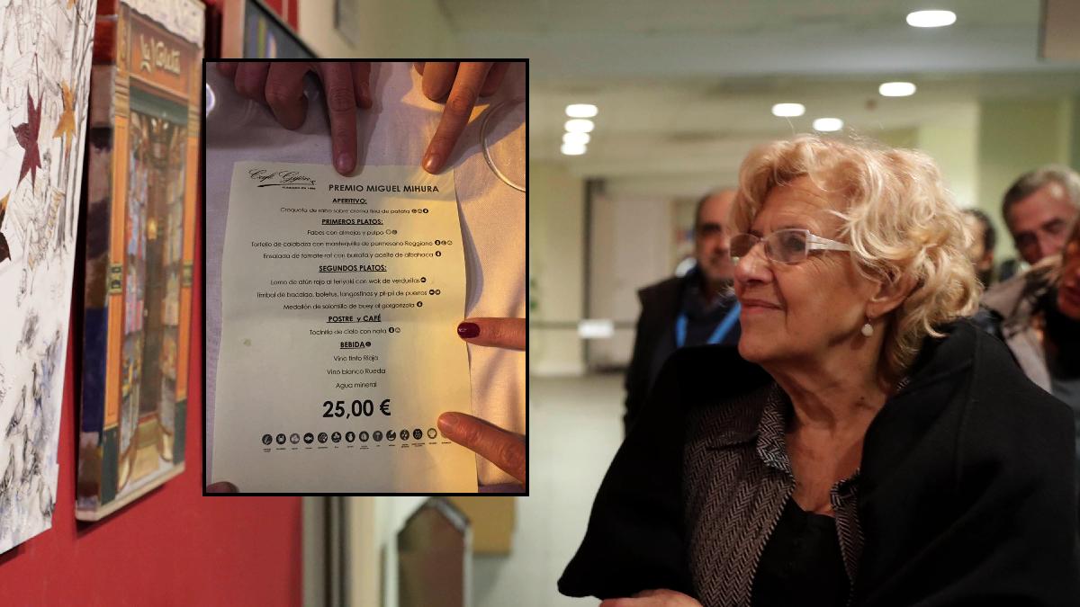 La alcaldesa Carmena y el menú. (Fotos: El Gallinero / Madrid)