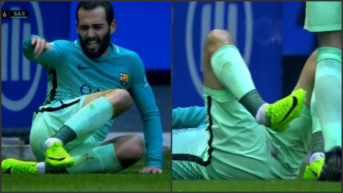 Aleix Vidal se lesionó el tobillo tras un choque con Theo Hernández.