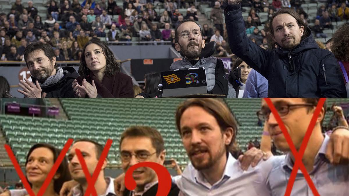 La dirección de Podemos en Vistalegre II (arriba) y en Vistalegre I (abajo)