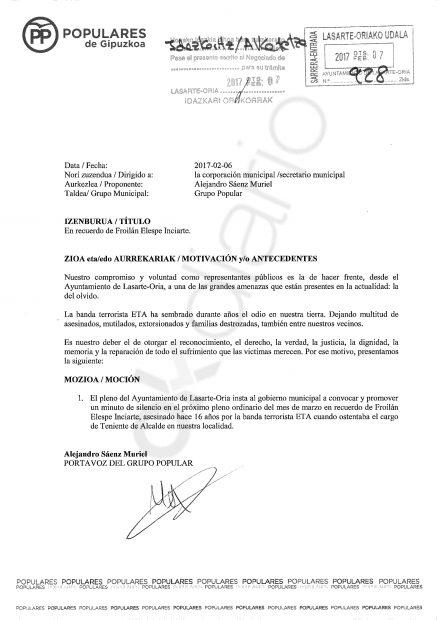 El PSOE de Lasarte rechaza un homenaje a un concejal socialista asesinado por ETA
