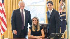 Donald Trump, Ivanka Trump y Justin Trudeau. (Foto: AFP)