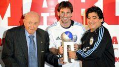 Di Stéfano, Messi y Maradona, en una foto para la historia. (Imagen: MARCA)