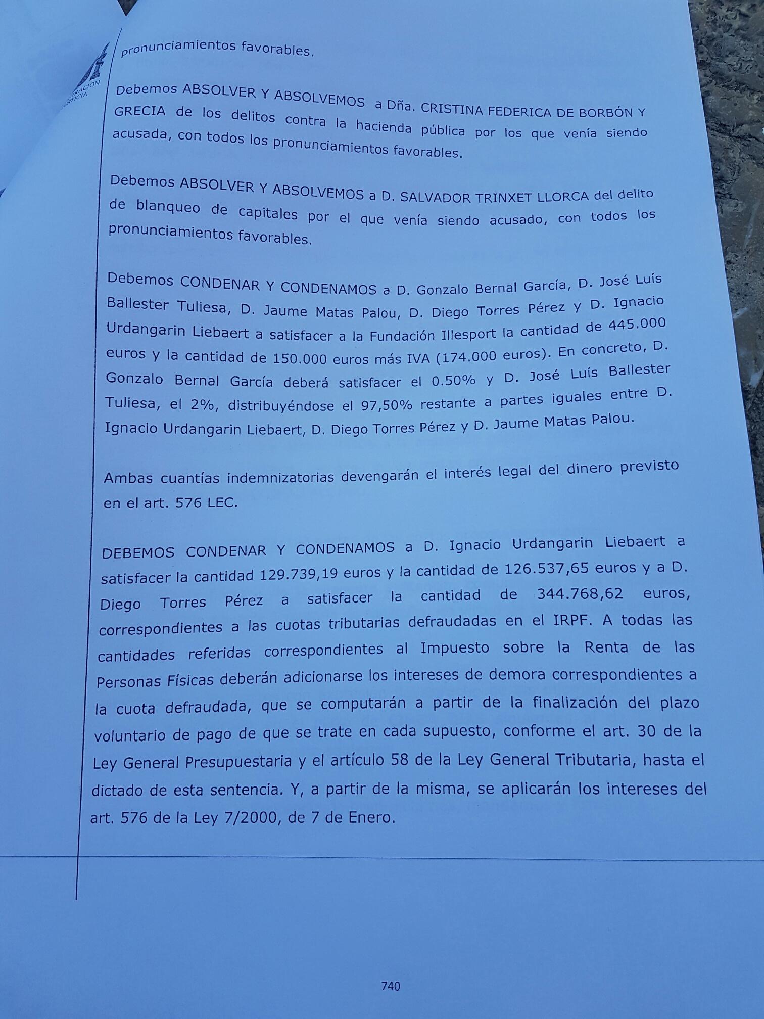 Seis años y tres meses para Urdangarin y absolución para la infanta