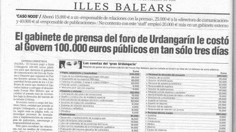La segunda información publicada por OKDIARIO en febrero de 2006 sobre el caso Nóos.