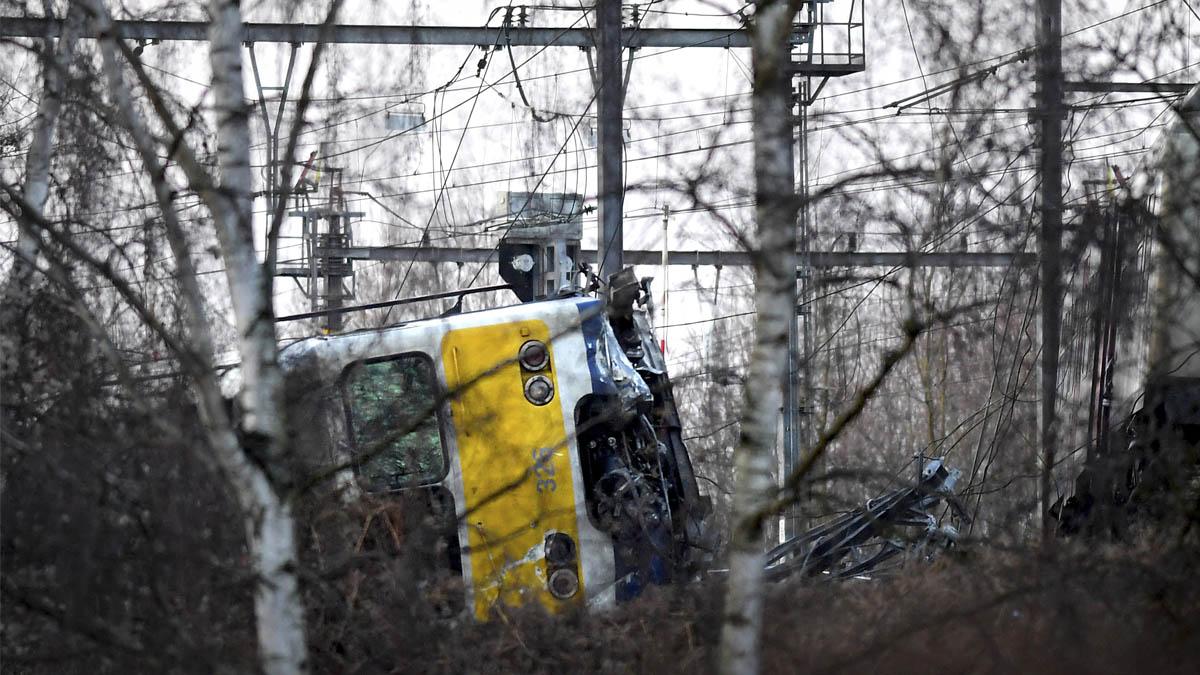 Tren accidentado en Bélgica (Foto: AFP)