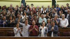 Los diputados de Podemos, en el Congreso.