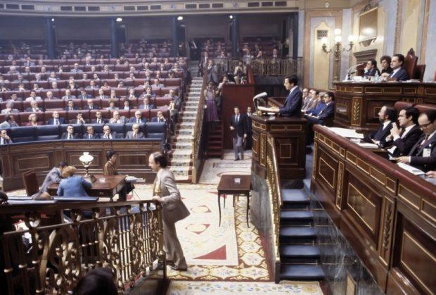 El Congreso en la década de 1980 con Adolfo Suárez, Landelino Lavilla y Leopondo Calvo Sotelo entre otros.