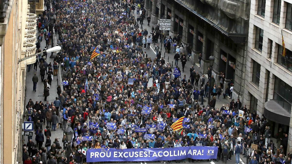 Imagen de la manifestación en Barcelona (Foto: Efe).