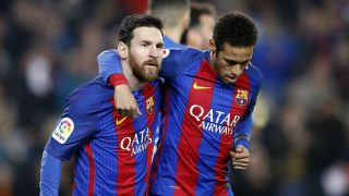 Messi y Neymar celebran un gol al Leganés. (EFE)