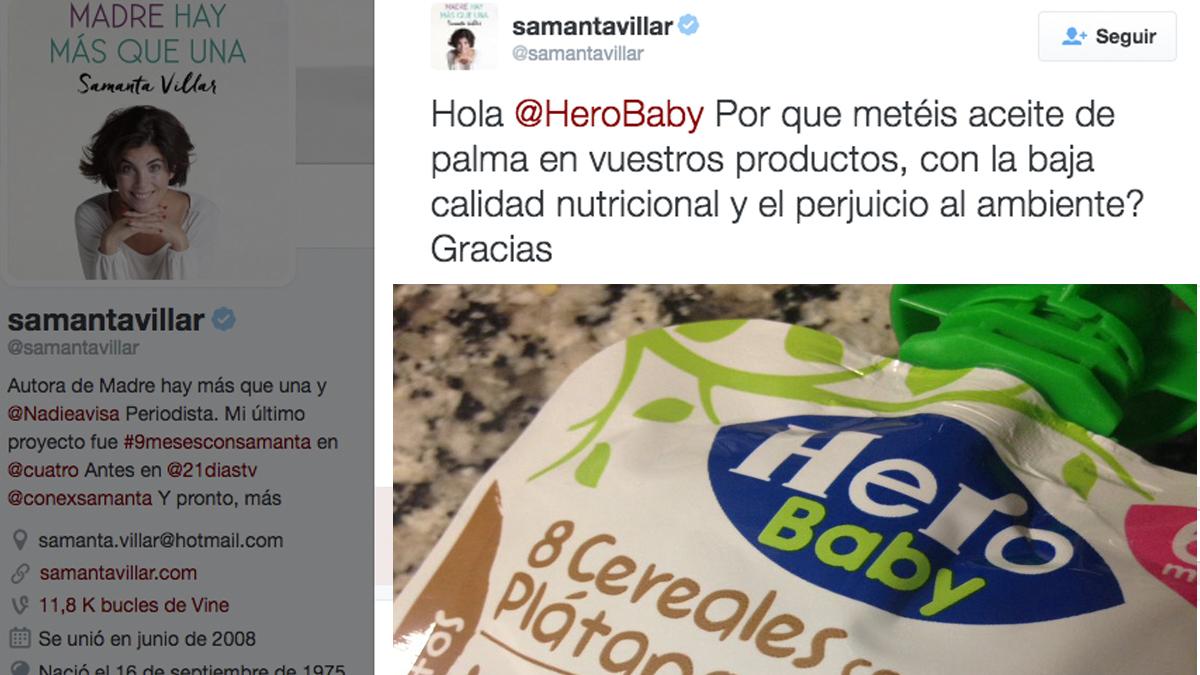 Cuenta de Twitter de Samanta Villar.