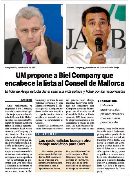"""Publicación del diario balear """"Última hora""""."""