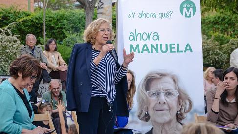 Manuela Carmena en un acto de campaña electoral de Ahora Madrid. (Foto: AM)