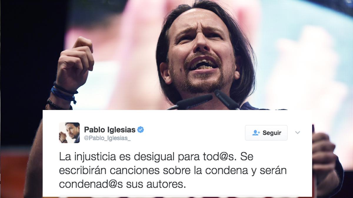 Pablo Iglesias trata de defender a su amigo rapero y condenado Valtonyc