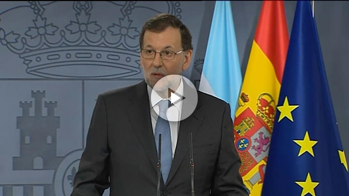 Mariano Rajoy, durante la rueda de prensa conjunta con Mauricio Macri.