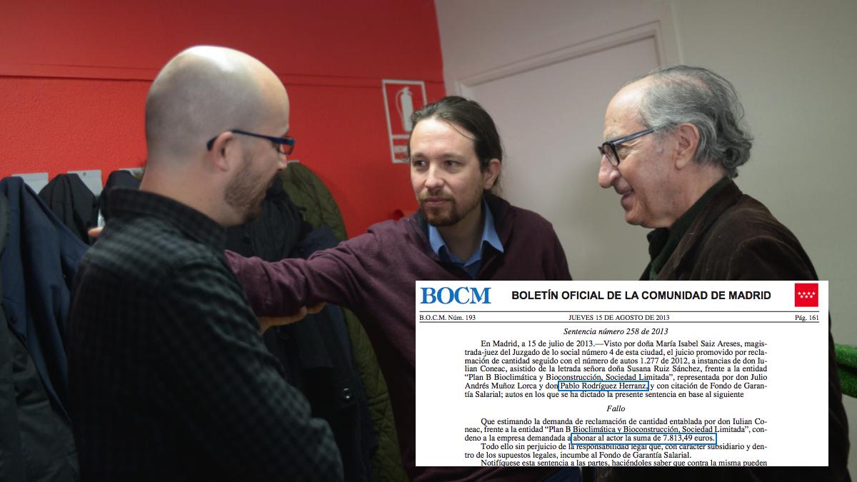 El líder de Podemos, Pablo Iglesias, con sus economistas Nacho Álvarez y Vicenç Navarro. (Foto: Flickr)