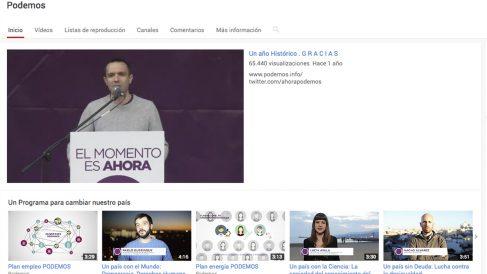 Cuenta de Podemos en Youtube.