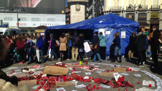 Acampada en la Puerta del Sol por la violencia machista. (Foto: TW)