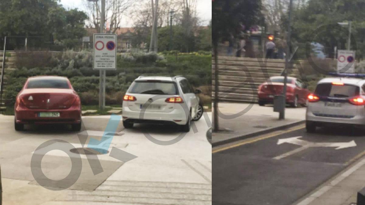 Coche rojo de Carolina Bescansa aparcado en una calle peatonal de Santiago de Compostela.