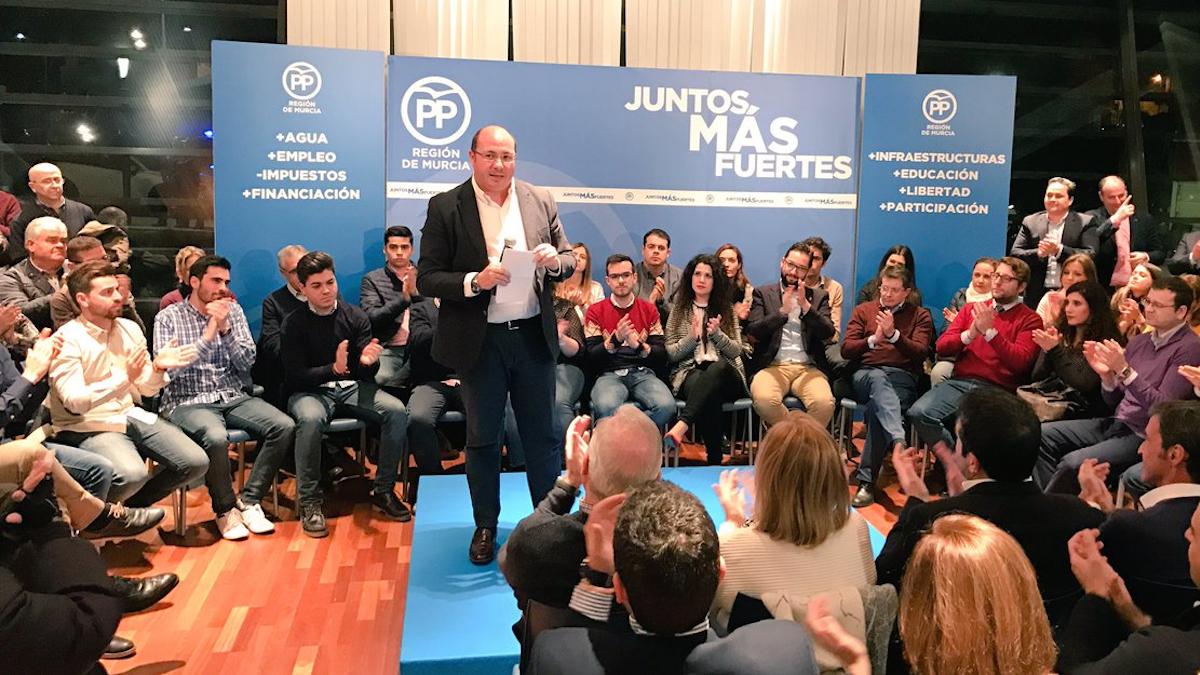 Acto del PP de Murcia con el presidente regional, Pedro Antonio Sánchez.