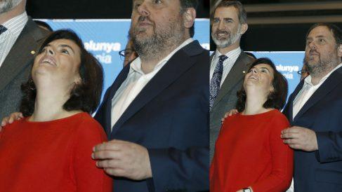 La llamada 'foto de la amistad' entre Soraya Sáenz de Santamaría y Oriol Junqueras. (EFE)