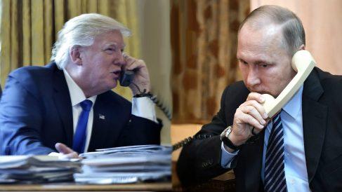 Los presidentes de EEUU, Donald Trump, y de Rusia, Vladimir Putin, hablan por teléfono. (AFP)
