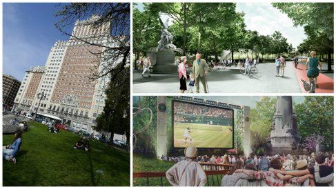 La actual Plaza España, el Proyecto Y (arriba) y el X (abajo).