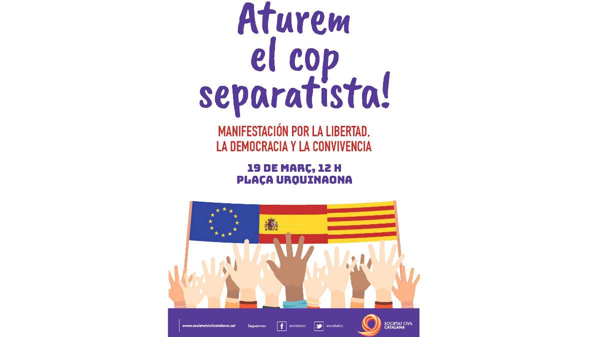 Manifestación promovida por la Sociedad Civil Catalana para el próximo 19 de marzo (Foto: Twitter)