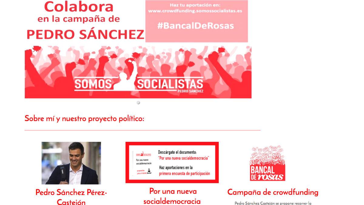 La web de Pedro Sánchez para la campaña de primarias del PSOE en 2017.