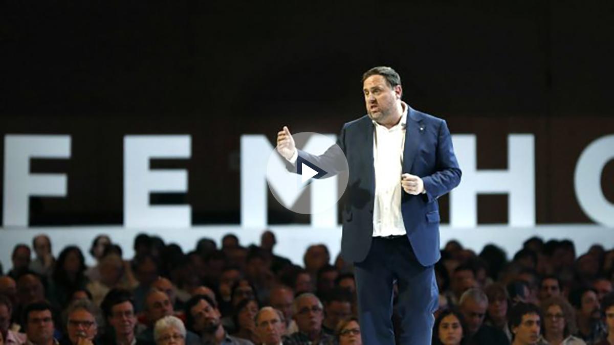 Oriol Junqueras durante el acto de ERC este sábado en Barcelona (Foto: Efe).