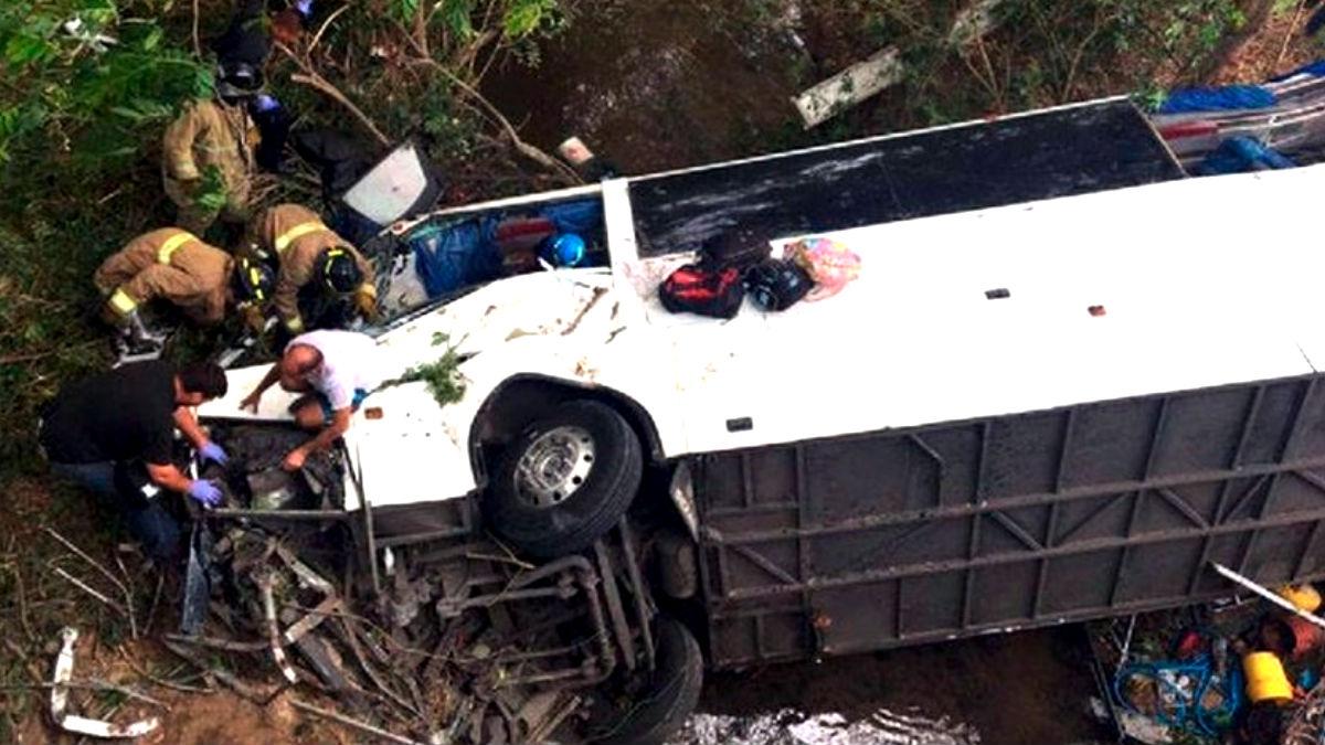 Imagen de un accidente de autobús.