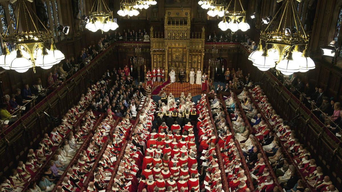 La Cámara de los Lores, órgano inelecto del Parlamento británico.