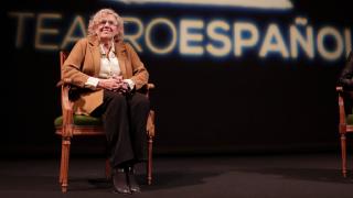 La alcaldesa Carmena en el Teatro Español. (Foto: Madrid)