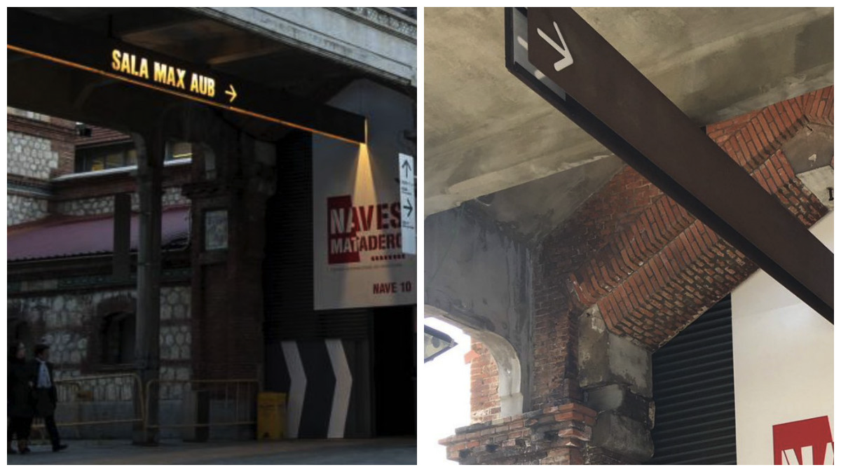 Antes y después del letrero de las salas de teatro en Matadero Madrid. (Fotos: TW)