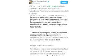El tuit de Juan Carlos Monedero en el que se toma a broma la campaña de acoso de Podemos a Eduardo Inda (Foto: Twitter)