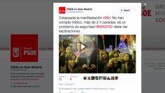 Tuit del Grupo Municipal del PSOE quejándose de la situación.